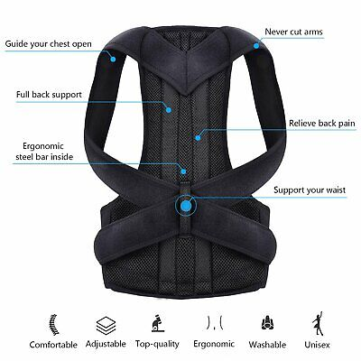 Unisex Posture Corrector Body Brace Bad Back Lumbar Shoulder Support Belt UK