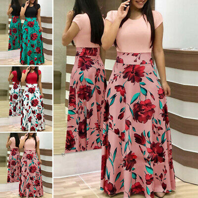 Womens Boho Floral Long Maxi Dress Summer Evening Cocktail Party Holiday Dresses