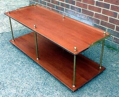 1960s vintage campaign style mahogany brass 2 tier coffee side occasional table