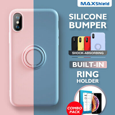 iPhone X XS Max XR iPhone 8 7 Plus Thin Soft Silicone Ring Holder Case Cover