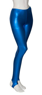 Royal Blue Shiny Metallic Dance Stirrup Leggings Katz Dancwear KDT001 SECONDS