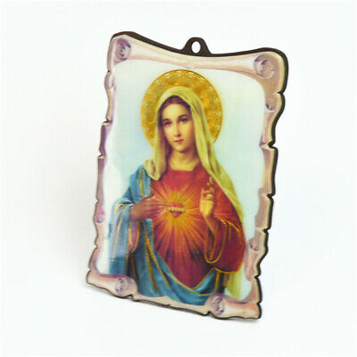 Wooden Religious Plaque With Holy Sacred Heart Mary Picture For All Occasions