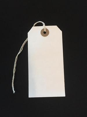 50 White Xmas Present Tags String Tie on Luggage Tag Parcel Price Label 96x48mm