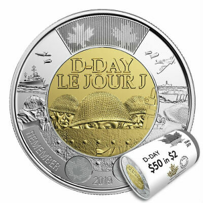 75TH ANNIVERSARY OF D-DAY - 2019 Non-Coloured $2 Special Wrap Roll RCM CANADA