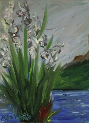 """Irises by The Lake Oil Painting signed """"A. de Monte"""" COA"""