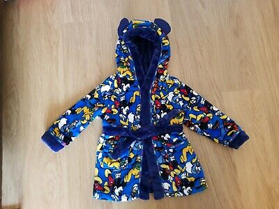 Disney ~ Boy's Blue Mickey Mouse Dressing Gown / Robe ~ Age 18-23 Months