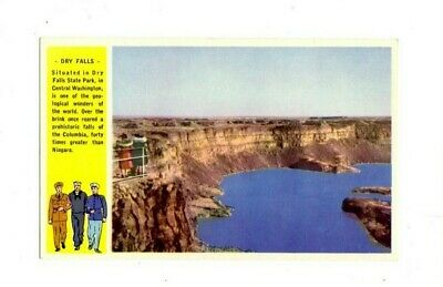 Washington State Armed Services Grand Coulee Dam Vintage Colorful Postcard