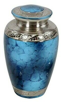 Large/Adult 200 Cubic Inch Classic Blue Brass Funeral Cremation Urn for Ashes