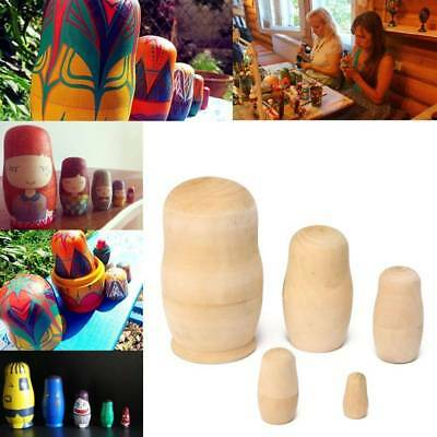 5pcs/Set Unpainted  Russian Nesting Dolls DIY Blank Wooden Embryos Toy Gift W