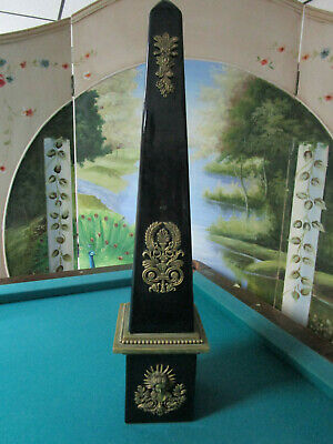 "Obelisk Finial Black French Ceramic With Brass Decor 25"" Salvage"