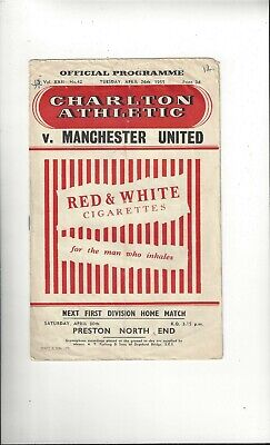 Charlton Athletic v Manchester United Football Programme 1954/55