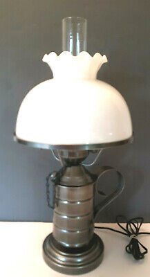 "Vtg Pewter Style Metal Oil Can Electric 21"" table Lamp Light Hurricane Farmhouse"