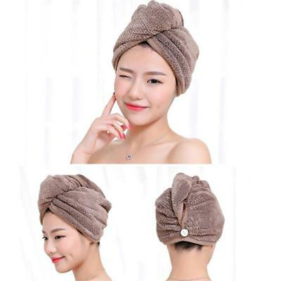 Microfiber Towel Quick Dry Hair Magic Drying Turban Wrap Hat Cap Bath Supply SI