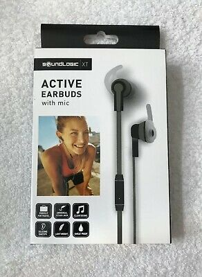 91cd94a5aad Sound Logic XT Active Earbuds Earphones With Microphone 3.5mm Connector  Black