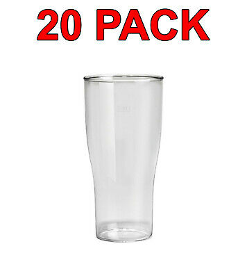Eco-Friendly Reusable Plastic Beer Glass Glasses Party Catering 520ml 20 Pack
