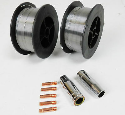0.9mm Gasless MIG Welding Wire - 0.45Kg with M6/MB15 Tips And Shrouds
