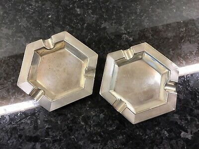 A Pair Of H.M. Sterling Silver Art Deco Ashtrays