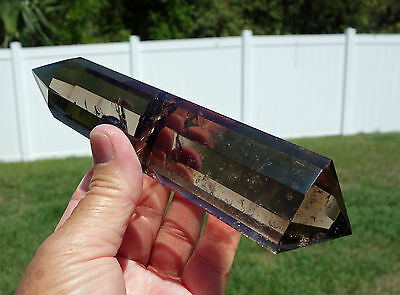 Large SMOKY Quartz Crystal Vogel Style Inspired12 Side Point Wand DT Super Clear