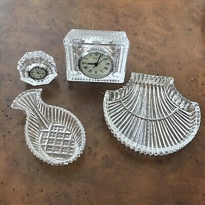Waterford Crystal Lot of 2 Clocks 2 Shell Dishes Trinket Trays