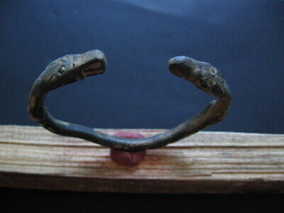 2 Wolfs Head Ancient Celtic Bronze Zoomorphic Bracelet 500-200 B.c.