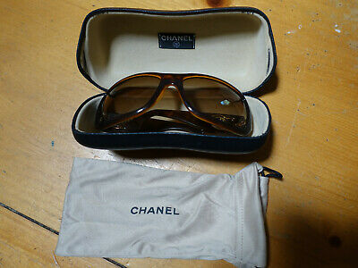413d8120df6a Chanel Women's Sunglasses Brown with Gold Logo, Gently Used in Original Case