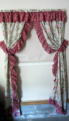 Vintage Country Romantic Floral Priscilla Ruffle Curtains Panels Pair