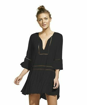 3bf2fc595ba02 VIX by Paula Hermanny Black Agata Swimsuit Cover Up Dress Medium NWT! NEW!  $98