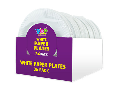 Party 864 White Disposable 18cm Paper Plates (24 packs of 36)