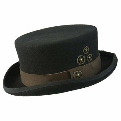 New Conner Hats Australian Black Wool Top Hat with Brass Clock Wheels