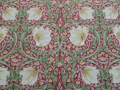 William Morris Curtain Fabric 'PIMPERNEL' 1.5 METRES Red/Thyme - Linen Blend
