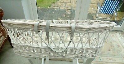 White  wicker moses basket with white handles  solid wicker