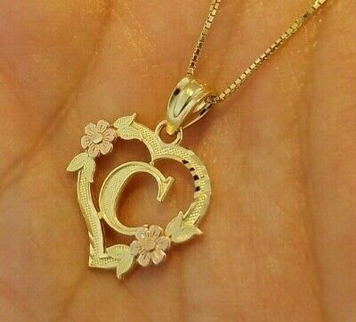10K OR 14K Three Tone Real Gold Heart & Roses Letter M
