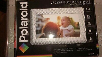 New Polaroid 7in Digital Photo Frame with Decorative Textured Silver Metal Frame