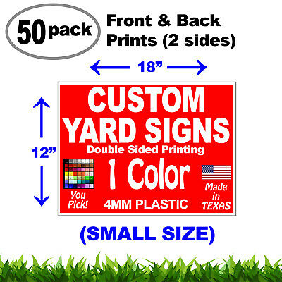 "50 bundle of 12""x18"" Double Sided (2 sides Front & Back) Custom Corrugated Signs"