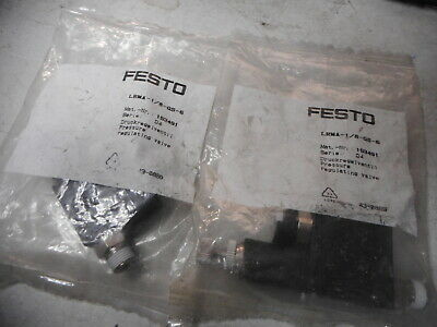 FESTO IN-LINE REGULATOR -- Qty of 2 -- 6mm Nylon w/Gauge --153491 -- LRMA-QS-6
