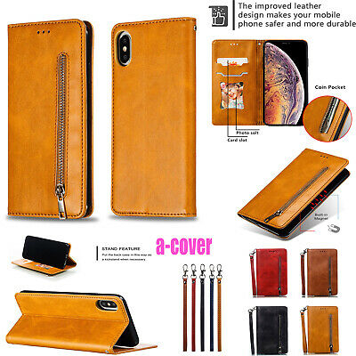 Genuine Leather Magnetic Card Stand Case Cover Fr iPhone XS MAX XR X 6/7/8 Plus