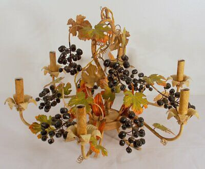 Mid Century Italian Tole Fruit Berries And Leaves Chandelier Six-light