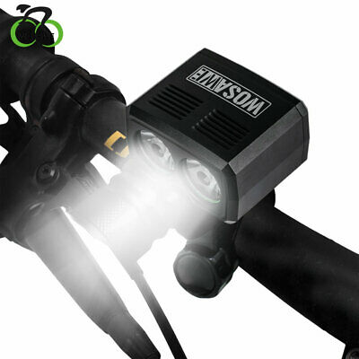 Bicycle Head Light Double LED Rechargeable USB Lamp 2400LM+Rotating mount