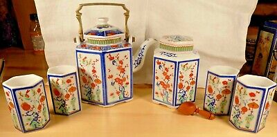 Teapot Sake Set Tea Cups Dragons And People Cherry Blossoms