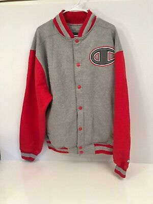 0c3a9f42c CHAMPION VARSITY JACKET Mens Button Size XL Spell Out Blue White 7 ...
