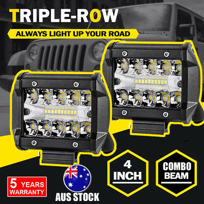 2X 4inch CREE LED Light Bar SPOT FLOOD 3Row Offroad Work Fog Driving Lamp 200W