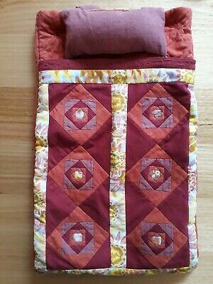 Doll sleeping bag, storage case and back pack, beautifully quilted