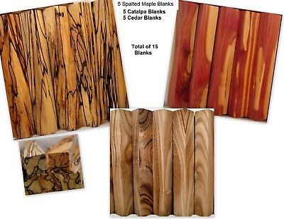 15 Blanks 5 Spalted MAPLE 5 Cedar 5 Catalpa WOOD Lathe TURNING PEN BLANKS Sx15
