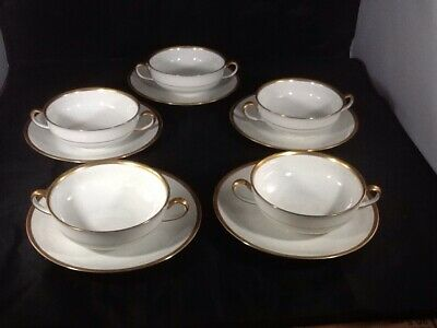 VTG Haviland LIMOGES White/Gold Trim Soup Bowl w/ Plate Saucer France SET OF 5