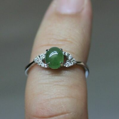 Size 6 CERTIFIED Natural JADE (A) Untreated Icy Green Jadeite S925 RING #R233