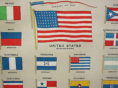 1906 ANTIQUE PRINT ~ AMERICAN ASIATIC AFRICAN FLAGS CHILE EGYPT PANAMA etc