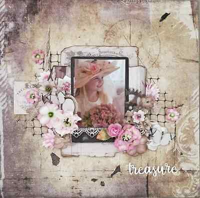"Handmade Mixed Media 12"" x 12"" Scrapbook Page - Treasure always"