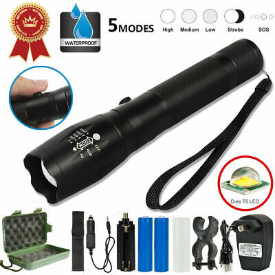 Military 5000LM XM-LT6 LED 18650 Rechargeable Waterproof Hunting Zoomable Torch