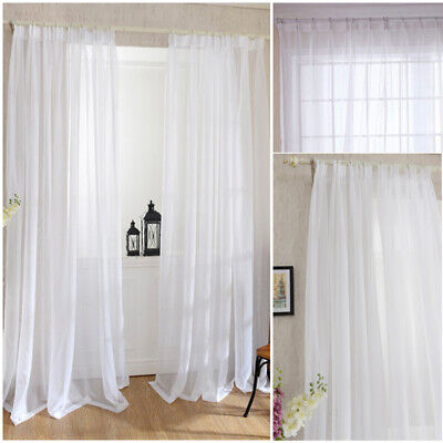 White Romantic Floral Tulle Voile Door Window Curtain Sheer Scarf Panel Valance#