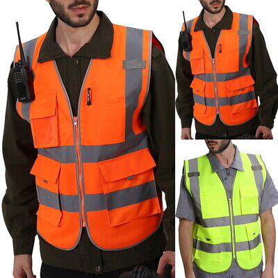 h8  Vis Safety Vest High Visibility Waistcoat Jacket  With Pockets Waterproof